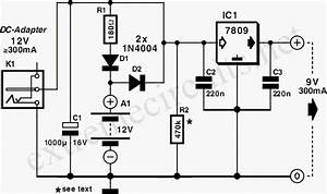 9v Dc Adapter With Battery Backup Circuit Diagram