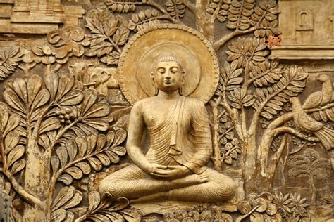 buddha wooden carving custom wallpaper mural print  jw