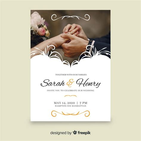 Retro ornamental wedding invitation template with photo