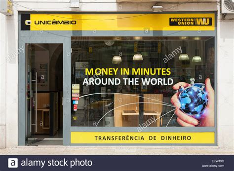 bureau western union western union money transfer office bureau in lisbon lisboa stock photo royalty free image