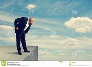 Senior Man Standing Over The Precipice Stock Photo - Image ...