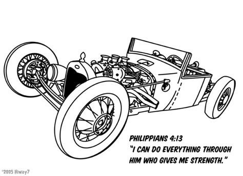 Kleurplaat Hotrod by Classic Rod Cart Coloring Sheet For