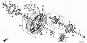Honda Motorcycle 2012 Oem Parts Diagram For Rear Wheel