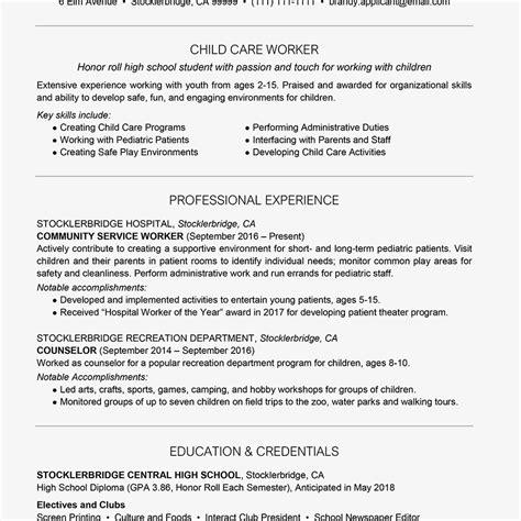 high school resume exle with summary