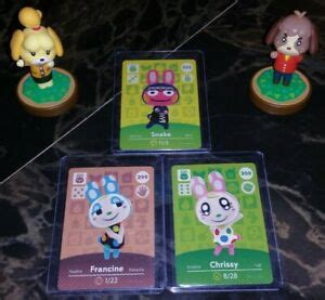Animal crossing new horizons supports more than a dozen amiibo figurines and 400 amiibo cards. 3 RABBIT LOT: Snake, Francine, & Chrissy Animal Crossing Amiibo Card - Authentic   eBay