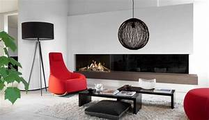 Modern Fireplace Design Ideas White Wall Minimalist Living Room Black Red Accents