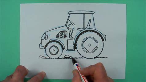 wie zeichnet man einen traktor zeichnen fuer kinder youtube
