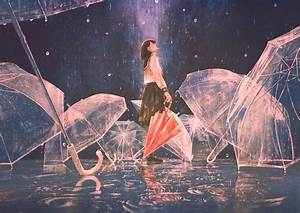 Download, 2048x1448, Anime, School, Girl, Transparent, Umbrellas, Raining, Closed, Eyes, Mood