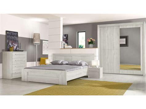 chambre chene blanchi lit 180x200 cm tiroir coloris chêne blanchi vente