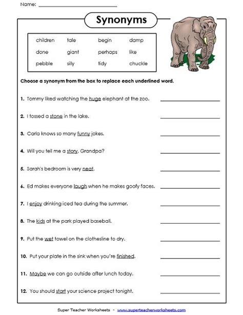 synonyms worksheet synonyms synonym worksheet