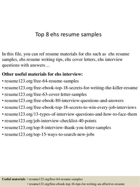 top 8 ehs resume sles