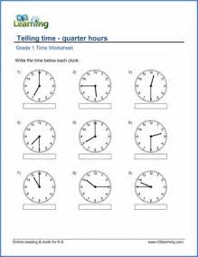multiplication and fractions grade 1 math worksheet telling time quarter hours k5 learning