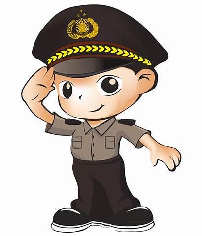 Polisi Clipart Polri Security Guard Cartoon Lady