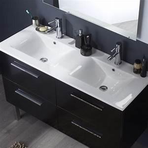 stunning meuble salle de bain noir double vasque ideas With salle de bain design avec meuble double vasque 120 cm pas cher