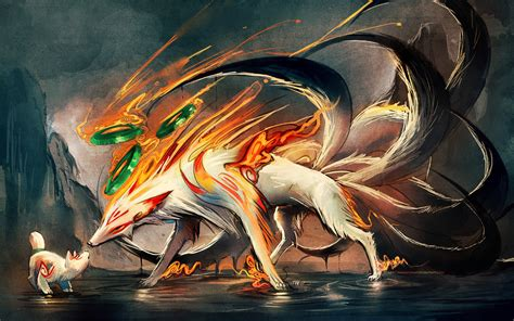 Nine Tailed Fox And Pup By Sakimichan On Deviantart