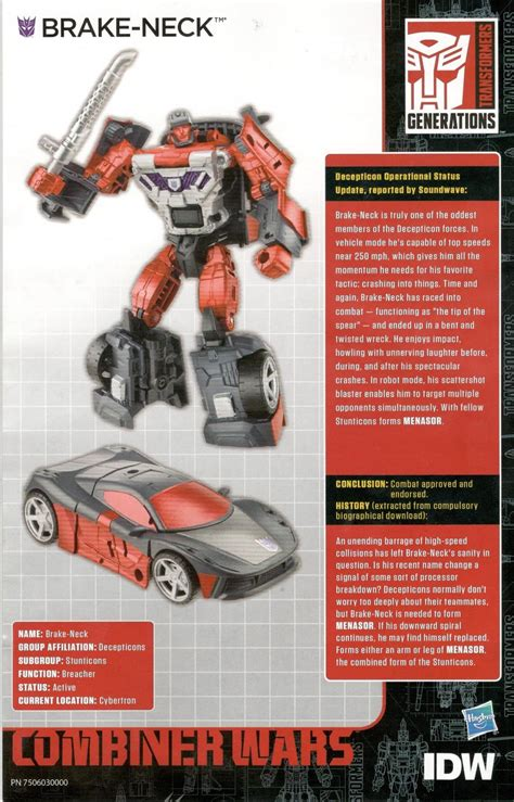 transformers bio card  idw combiner wars bios