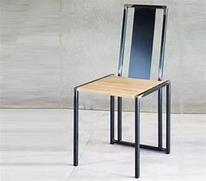 Chaise Bois Design : chaise metal brut verni assise bois chaise design ~ Teatrodelosmanantiales.com Idées de Décoration