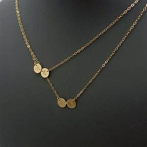 double layered initial necklace four petite discs gosia With petite letter necklace