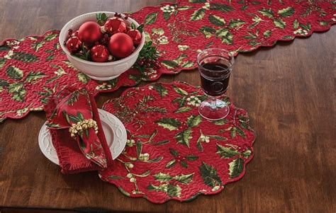 mistletoe holly  christmas placemat