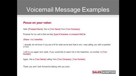 cold call voicemail message examples youtube