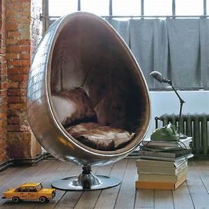 Fauteuil En Oeuf : fauteuil uf indus en cuir marron coquille maisons du monde ~ Farleysfitness.com Idées de Décoration