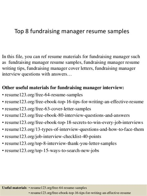 Fundraising Resume by Top 8 Fundraising Manager Resume Sles