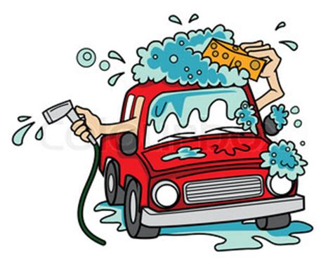car wash clipart illustration of car washing on white background vector