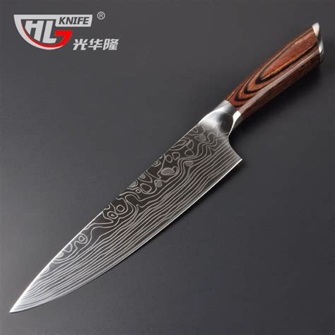 knives japanese knife chef kitchen german steel handle 8inch imported pakka shipping damascus oussirro cuchillo facas cocina cutter fruit aliexpress
