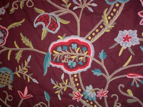 Crewel Upholstery Fabric by Crewel Embroidered Upholstery Fabric Multicolor Jacobean