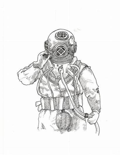 Diver Deep Sea Sketch Scuba Drawing Helmet