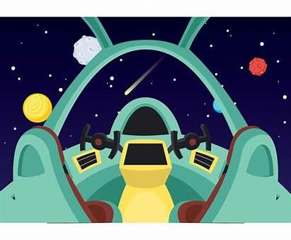 Spaceship Interior Modern Vector Cockpit Ship Space