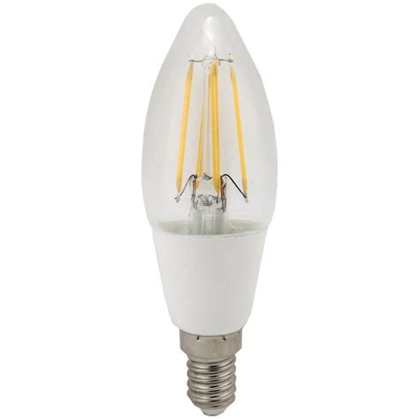inlight filament style led candle bulb 4w ses e14 clear