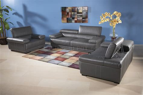 charcoal grey leatherette modern sofa woptional items