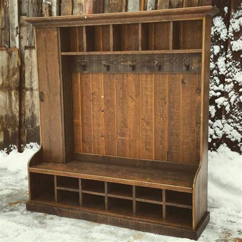 custom rustic reclaimed hall tree locker bench