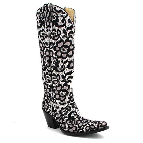 Corral Tall Floral Lace Black and White from Maverick Western