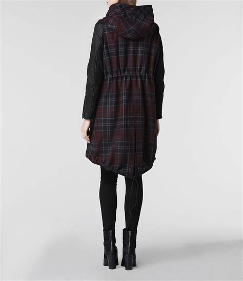 Allsaints Check Maze Parka Jacket In Red Lyst