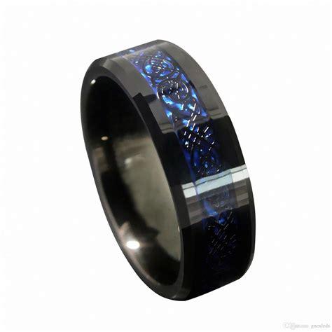 2017 8mm blue black silvering celtic dragon tungsten carbide ring matching wedding band