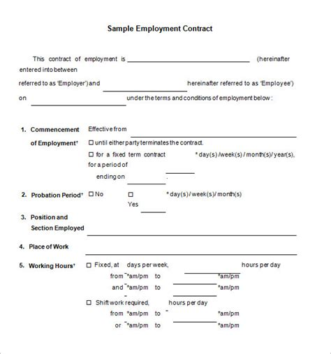 employment contract template word rota template