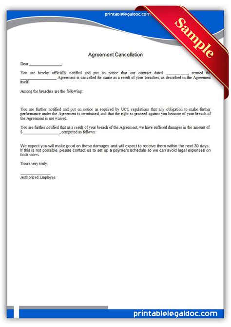 printable agreement cancellation form generic