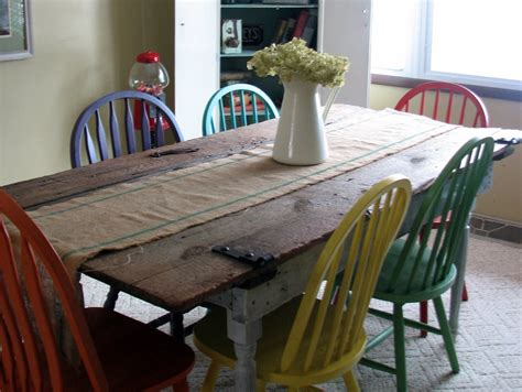 painting kitchen table and chairs different colors remodelaholic old barn door recycled into kitchen table