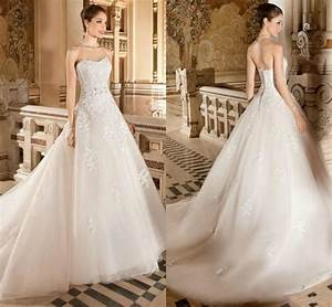 Exquisite Strapless Ball Gown Wedding Dresses Lace Tulle ...