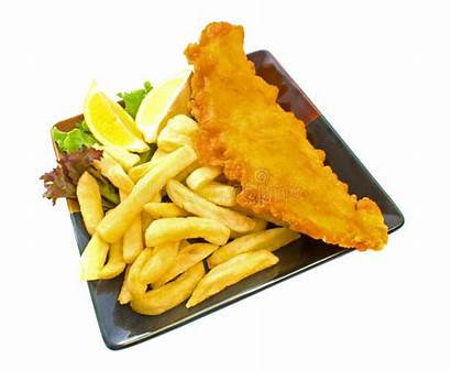 Chips Fish Plate Background Fried Salt Isolated