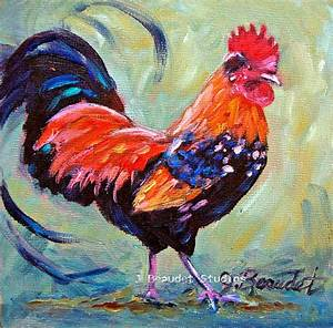Print of Original oil painting Rooster Barn animal French ...