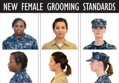 female grooming standards  navy include updates  ponytails braids news