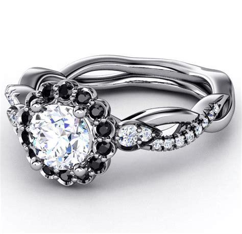 engagement ring black diamond halo  mdc diamonds