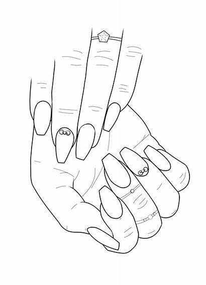 Coloring Nail Adult Nails Drawing Printable Colouring