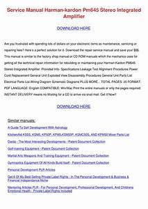 Service Manual Harman Kardon Pm645 Stereo Int By Ethelyn