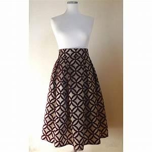 jupe taille haute a plis creux de couleur marron glace With robe longue en velours