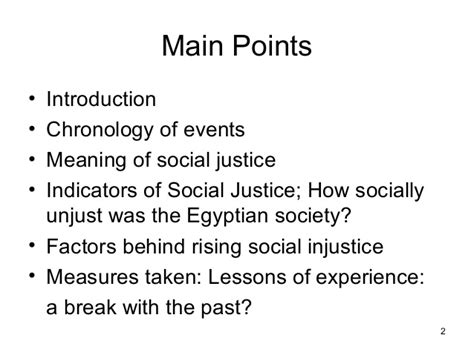 Social Justice Lessons Of Experience For Egypt