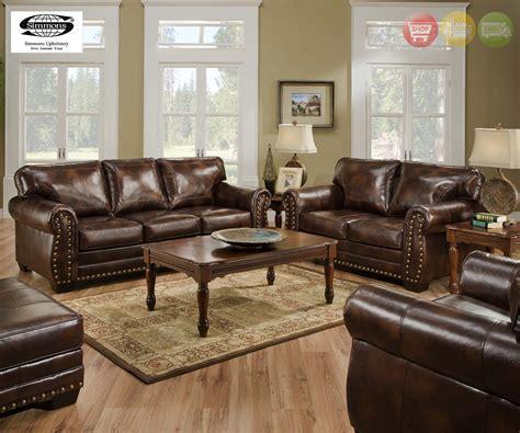 Brown Leather Sofa Set by Encore Vintage Traditional Brown Leather Sofa Set W Bombe